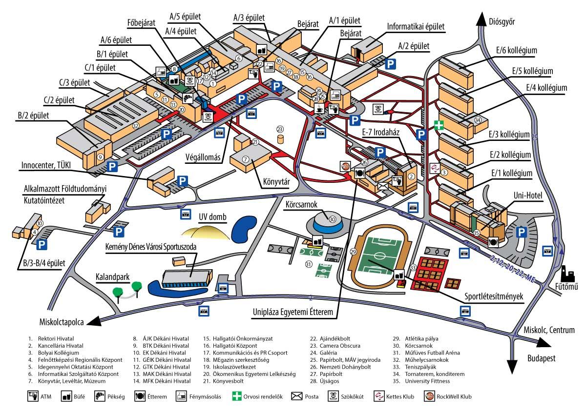 miskolc térkép Térkép   Miskolci Egyetem miskolc térkép